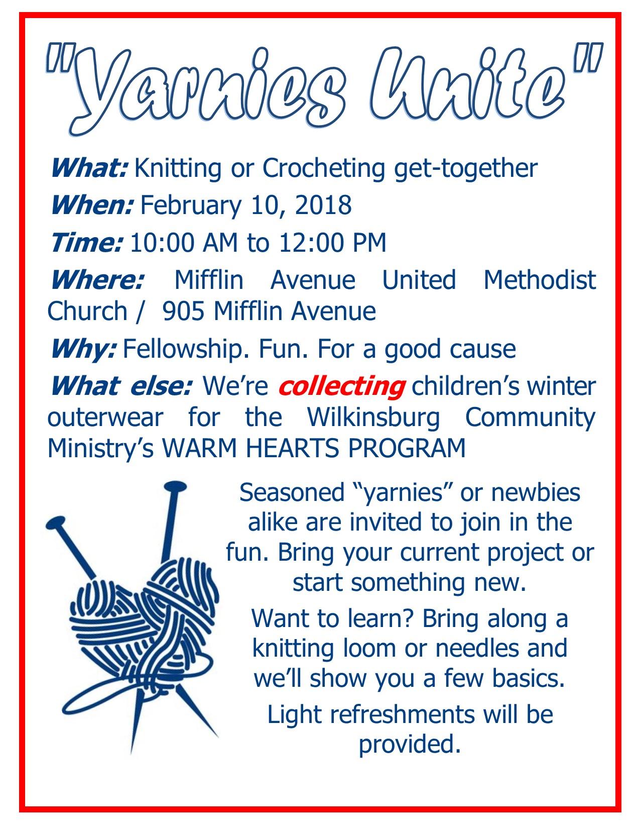 Knitting Events 2018 : Events mifflin avenue united methodist church